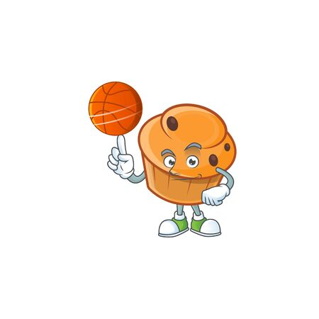Pastry brioche mascot with holding basketball cartoon character  イラスト・ベクター素材