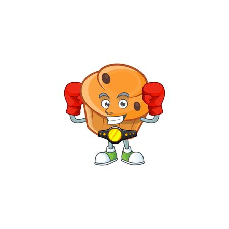 Pastry brioche mascot with boxing cartoon character  イラスト・ベクター素材