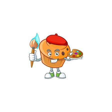 Pastry brioche mascot with painter cartoon character  イラスト・ベクター素材