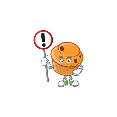 Pastry brioche mascot with sign warning cartoon character Illustration