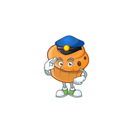 Pastry brioche mascot with police cartoon character