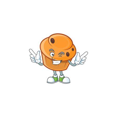 Cartoon brioche in the wink character shape. 向量圖像