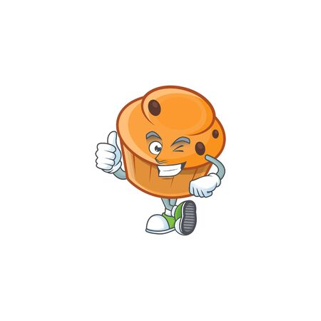 Cartoon brioche in the thumbs up character shape.