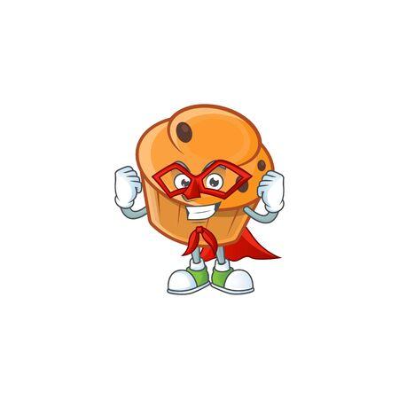 Cartoon brioche in the super hero character shape.
