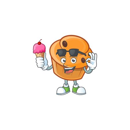 Cartoon brioche in the with ice cream character shape.  イラスト・ベクター素材