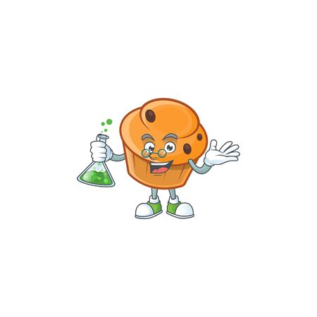 Cartoon brioche in the professor character shape.  イラスト・ベクター素材