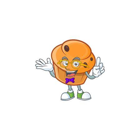 Cartoon brioche in the geek character shape.