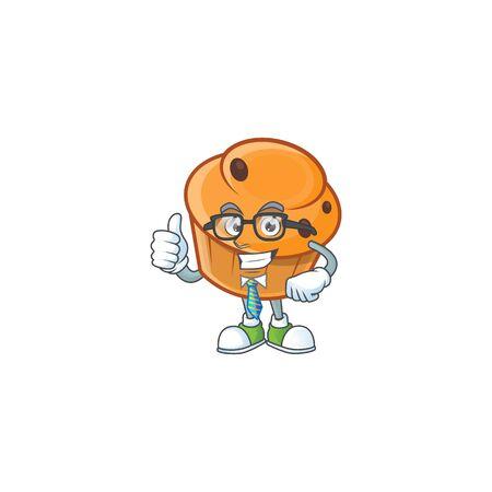 Cartoon brioche in the businessman character shape.  イラスト・ベクター素材