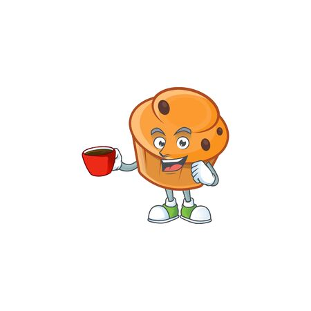 Cartoon brioche in the drinking in cup character shape.