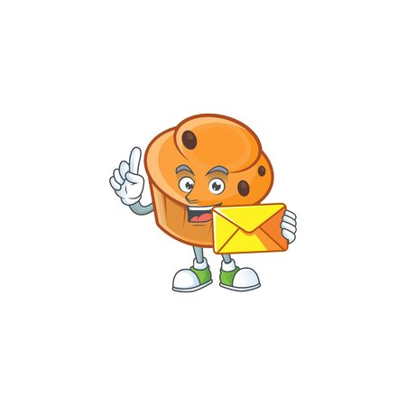 Cartoon brioche in the bring envelope character shape.  イラスト・ベクター素材
