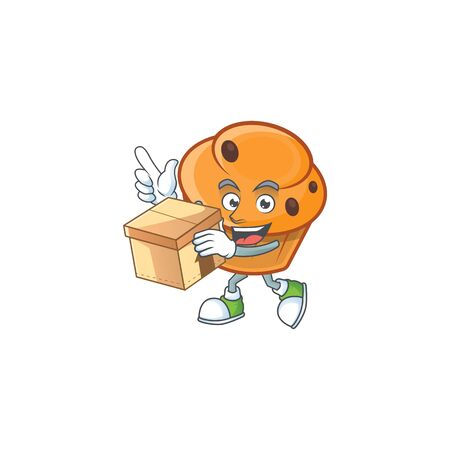 Cartoon brioche in the with bring box character shape.  イラスト・ベクター素材