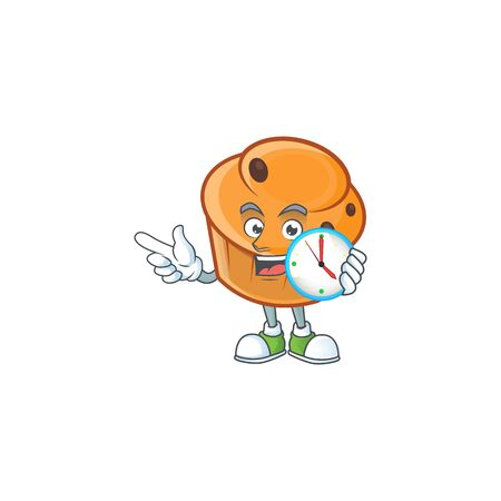 Cartoon brioche in the with bring clock character shape.  イラスト・ベクター素材