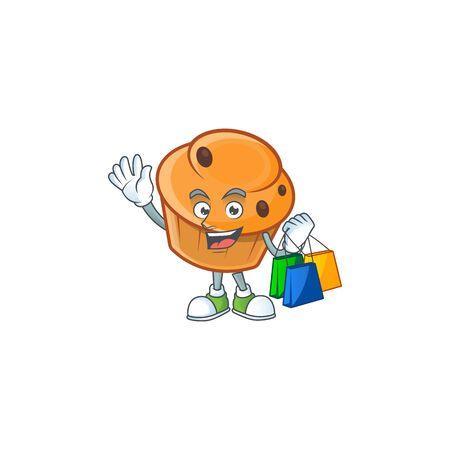Cartoon brioche in the shopping character shape.