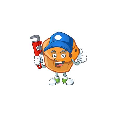 Brioche mascot with plumber on white background  イラスト・ベクター素材