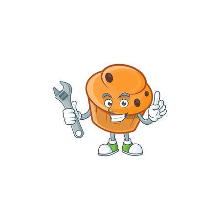 Brioche mascot with mechanic on white background