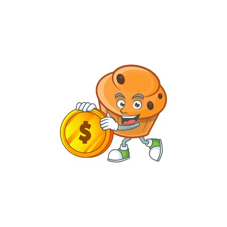 Brioche mascot with bring coin on white background