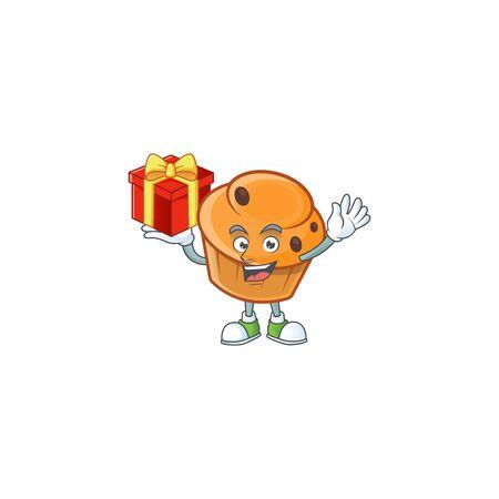 Brioche mascot with bring gift on white background