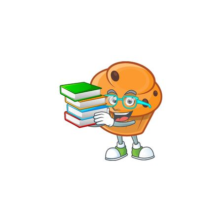 Brioche mascot with student bring book on white background  イラスト・ベクター素材