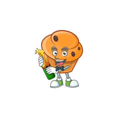 Brioche mascot with bring beer on white background