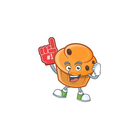 Brioche mascot with foam finger on white background