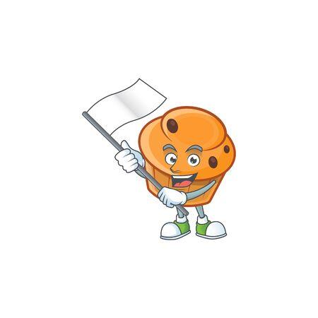 Brioche mascot with bring flag on white background  イラスト・ベクター素材