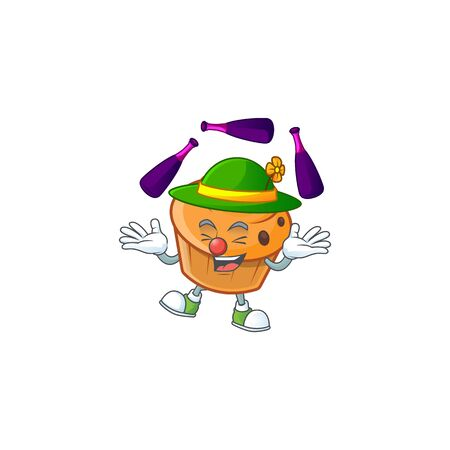 Brioche mascot with juggling on white background  イラスト・ベクター素材