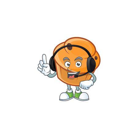 Brioche mascot with headphone on white background  イラスト・ベクター素材