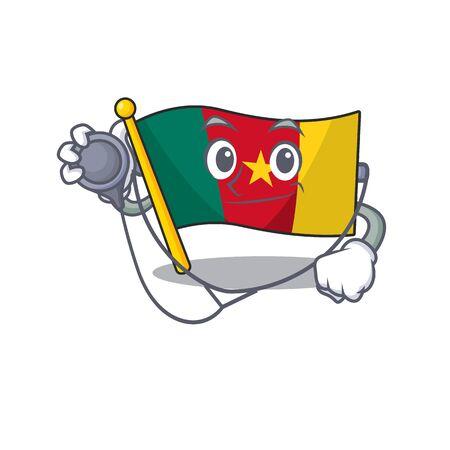 flag cameroon cartoon in doctor character shape vector illustration Illustration