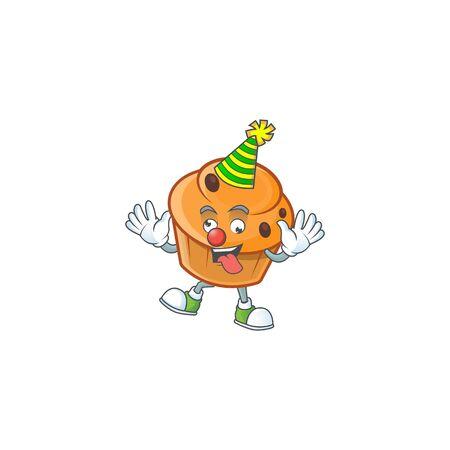 Brioche mascot with clown on white background