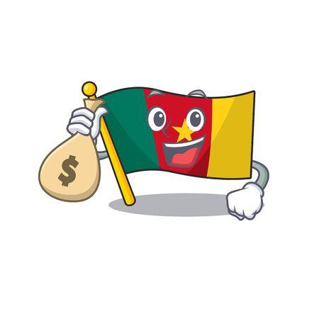 holding money bag flag cameroon cartoon in character shape vector illustration Ilustração