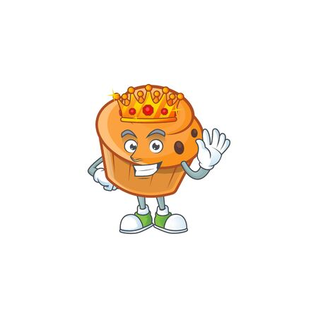Brioche mascot with king on white background  イラスト・ベクター素材