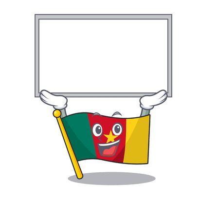 up board flag cameroon cartoon in character shape vector illustration