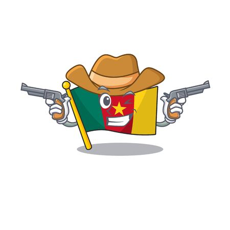 flag cameroon cartoon in character shape cowboy vector illustration