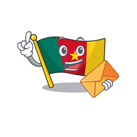 cartoon smiling flag cameroon on character vector illustration bring envelope