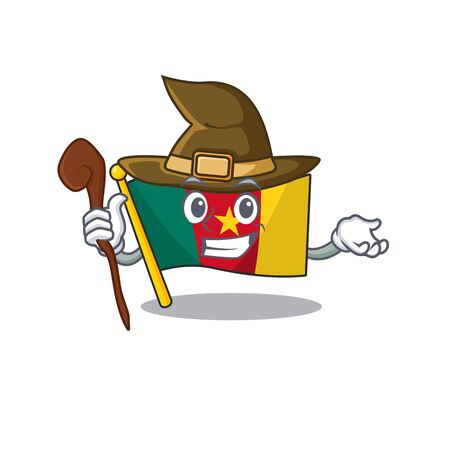 flag cameroon mascot witch isolated with cute vector illustration