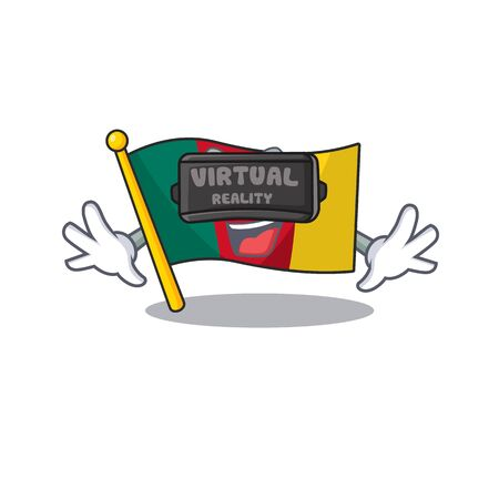 flag cameroon mascot isolated virtual reality with cute vector illustration