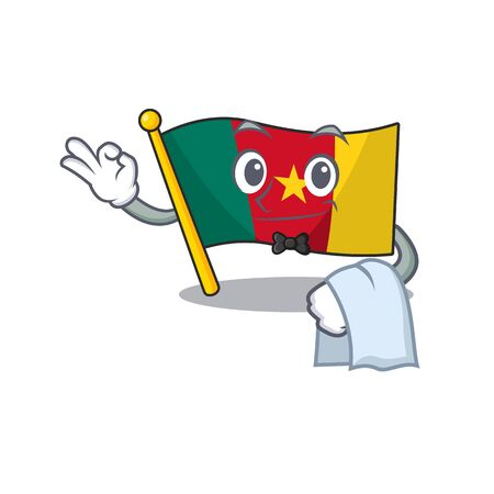 flag cameroon waiter mascot isolated with cute vector illustration Ilustração