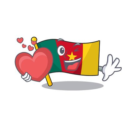 holding heart flag cameroon mascot isolated with cute vector illustration Ilustração