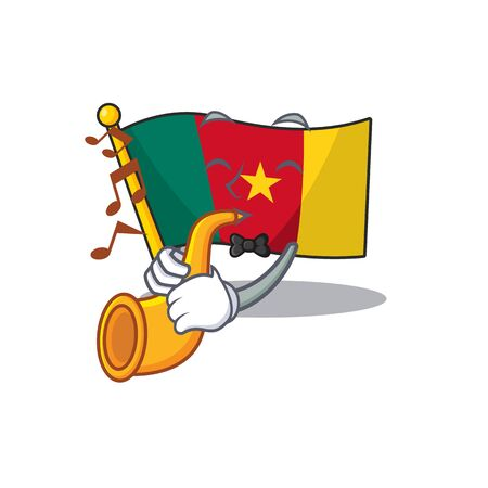 flag cameroon mascot isolated with cute with trumpet vector illustration