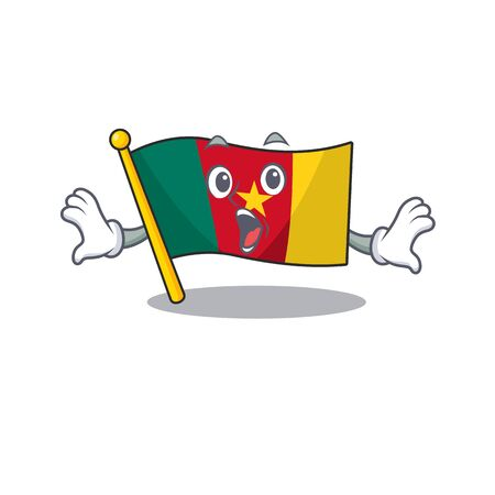 flag cameroon mascot isolated surprised with cute vector illustration