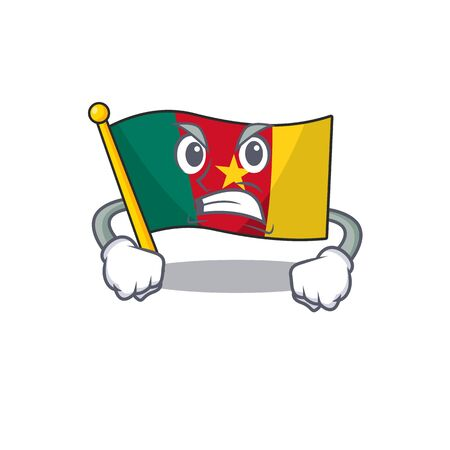 angry flag cameroon mascot isolated with cute vector illustration
