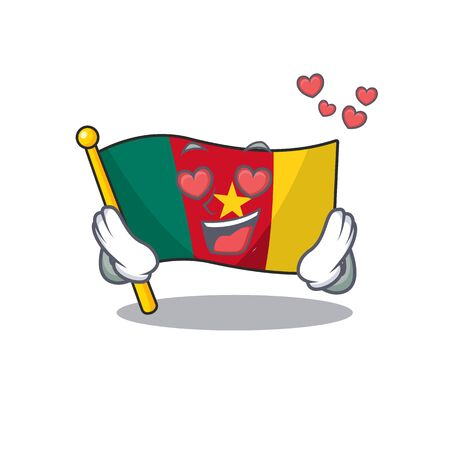 flag cameroon mascot isolated with in love cute vector illustration