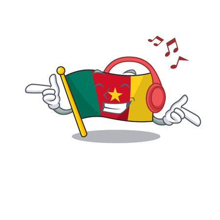 flag cameroon listening music mascot isolated with cute vector illustration Иллюстрация
