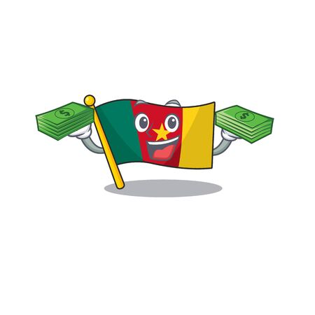 flag cameroon mascot holding money isolated with cute vector illustration