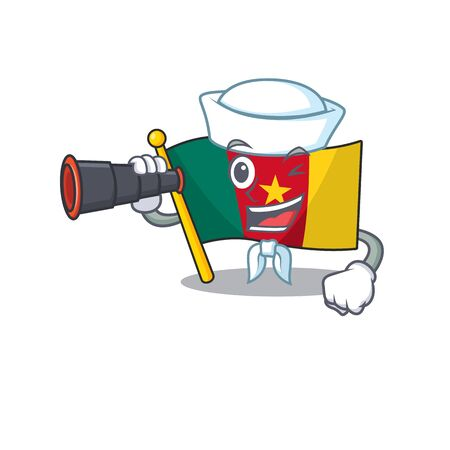 flag cameroon mascot isolated with sailor holding binocular cute vector illustration