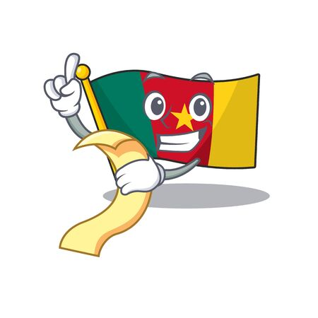 flag cameroon mascot isolated with cute holding bill vector illustration Ilustração