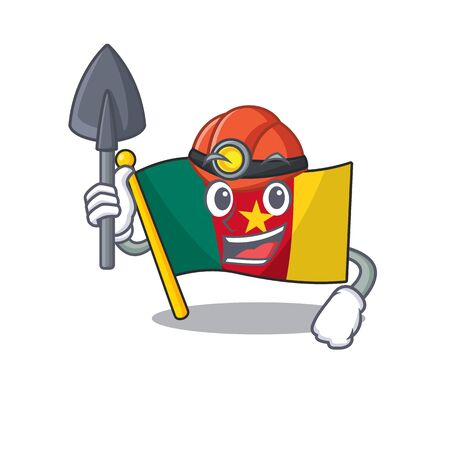 flag cameroon mascot isolated with cute vector illustration miner
