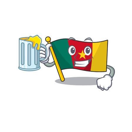 flag cameroon holding juice mascot isolated with cute vector illustration Ilustração