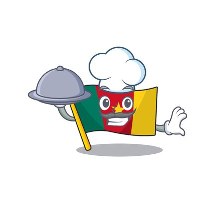 flag cameroon mascot isolated with cute chef holding food vector illustration