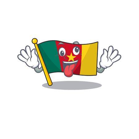 flag cameroon above the table cartoon crazy vector illustration